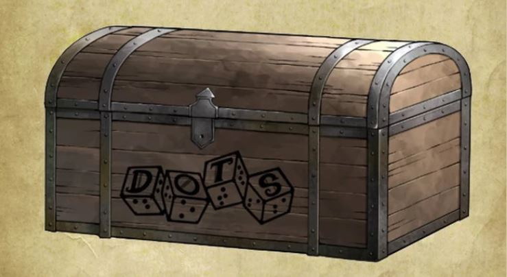 DOTS Gear chest: sketch of wooden treasure chest with metal banding on edges, DOTS logo on the front.