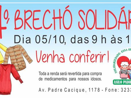 Brechó Solidário do Asilo Padre Cacique será no sábado, 05 de outubro
