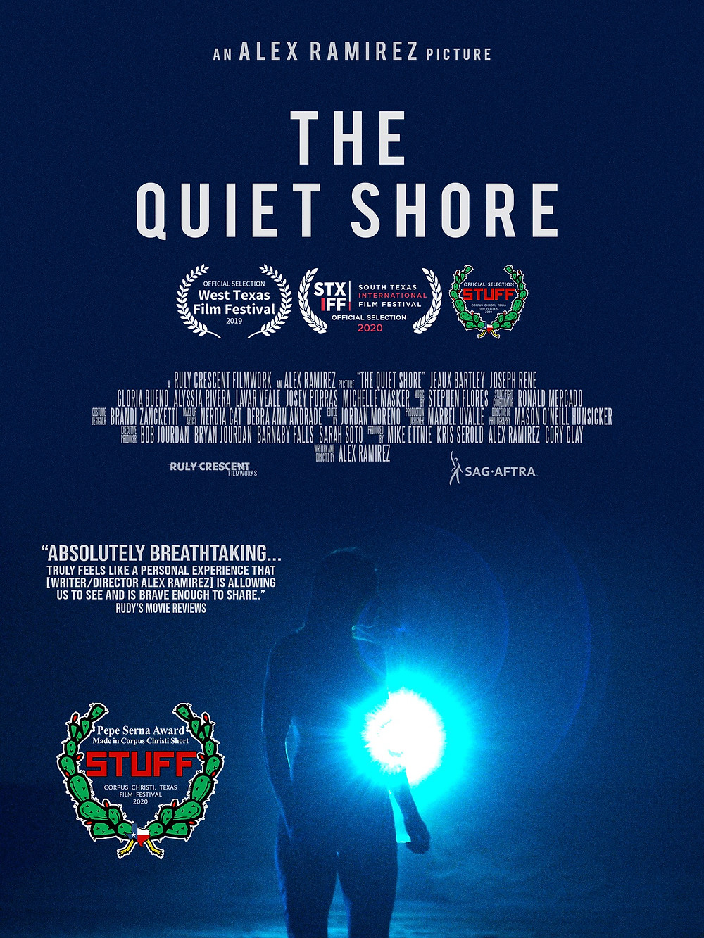 A lonely woman suffering from ALS walks off into the cold blue sea. Bold white text at the top reads 'The Quiet Shore.'