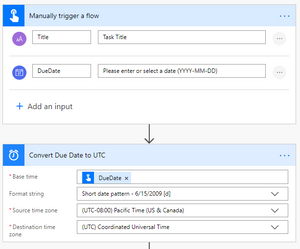Screenshot showing the first two steps (Manual Trigger and Convert Date)