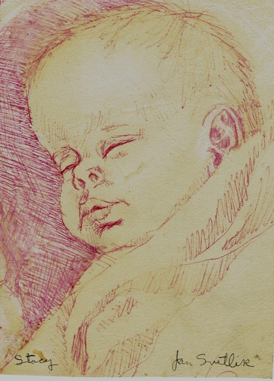 Pen and ink of Stacya as a baby, by Jan Svetlik
