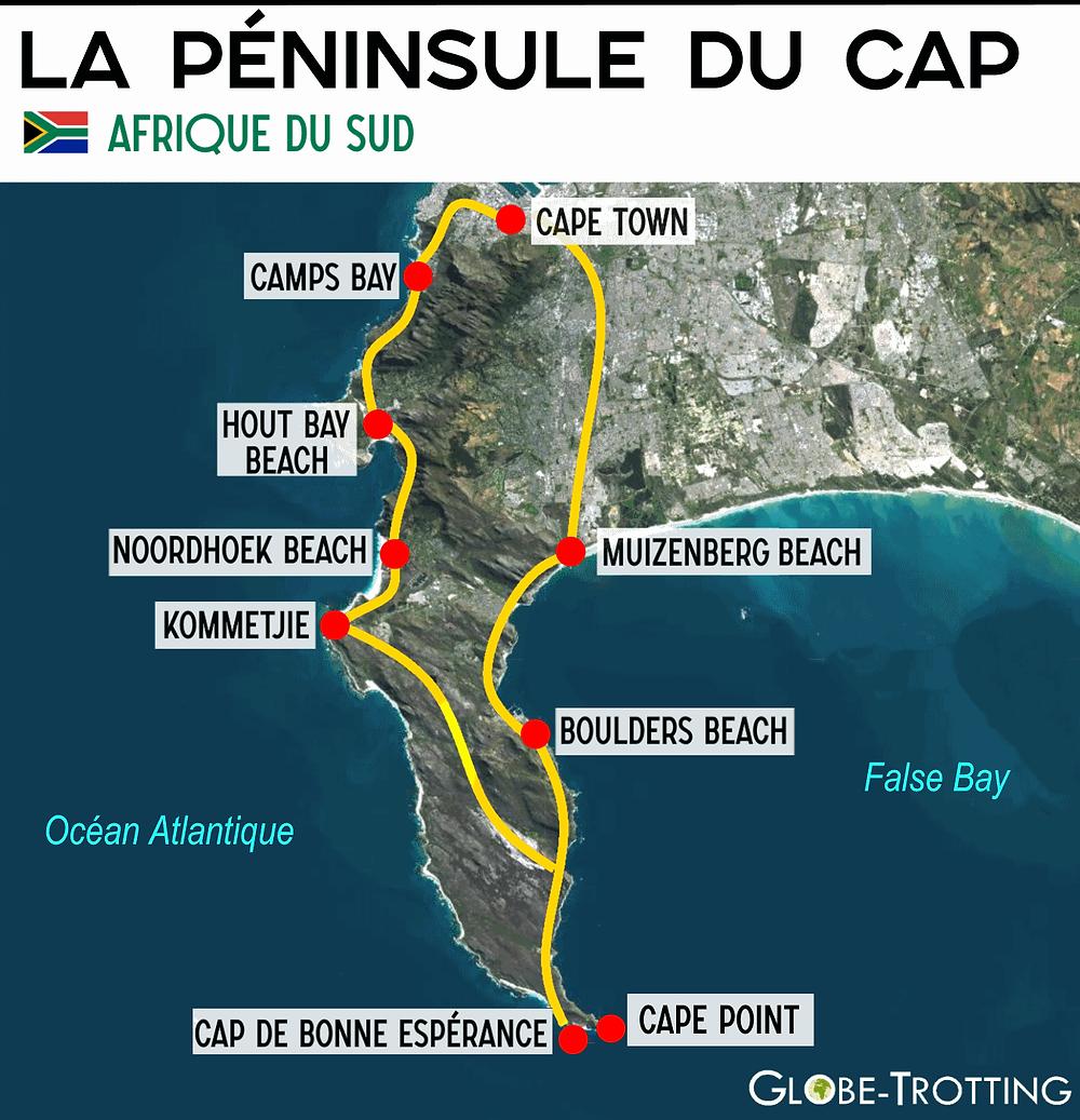 Carte Plan Péninsule du Cap  Bonne espérance