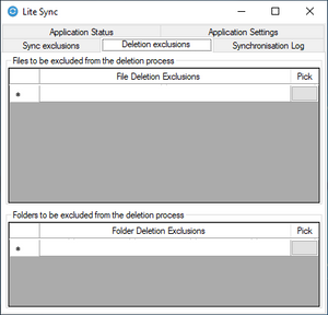 This is the deletion exclusions page of lite sync's file and folder sync software.