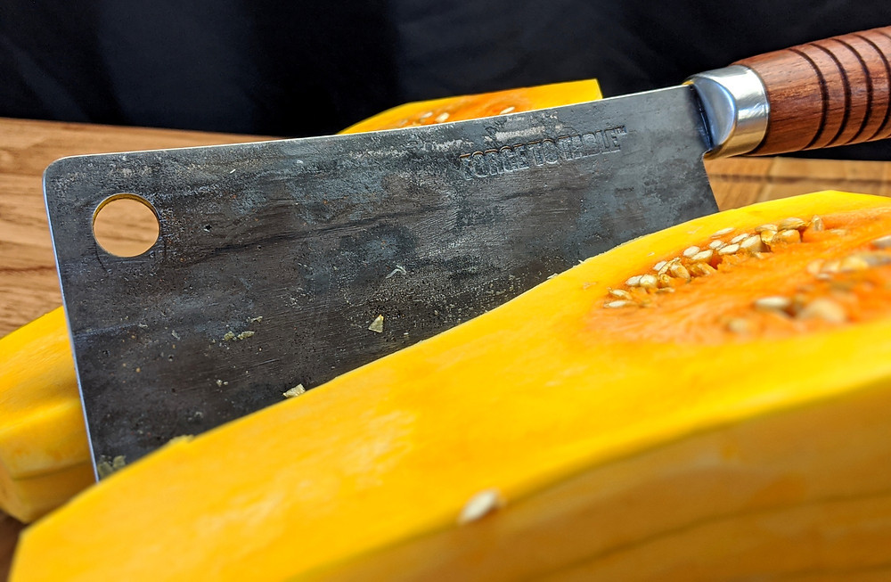 Classic cleaver split a whole butternut squash with ease