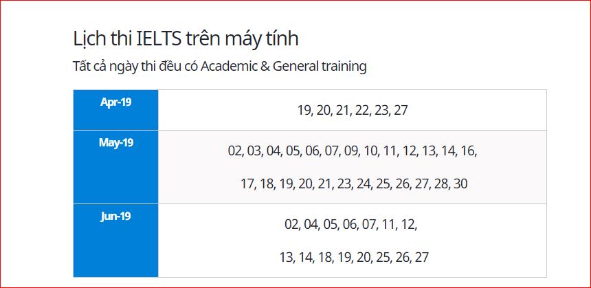 Lịch thi Ielts trên máy tính 2019