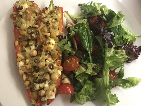 Artichoke, Feta and Chickpea stuffed roast peppers