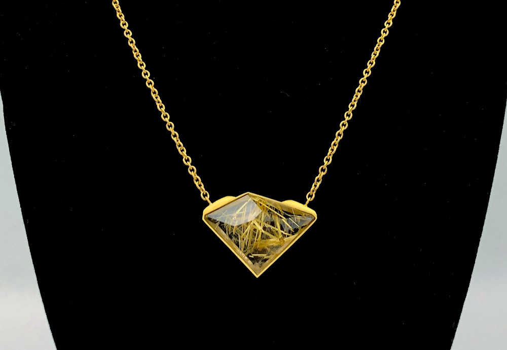 Funky Champagne Rutilated Quartz Necklace in 18k Yellow Gold
