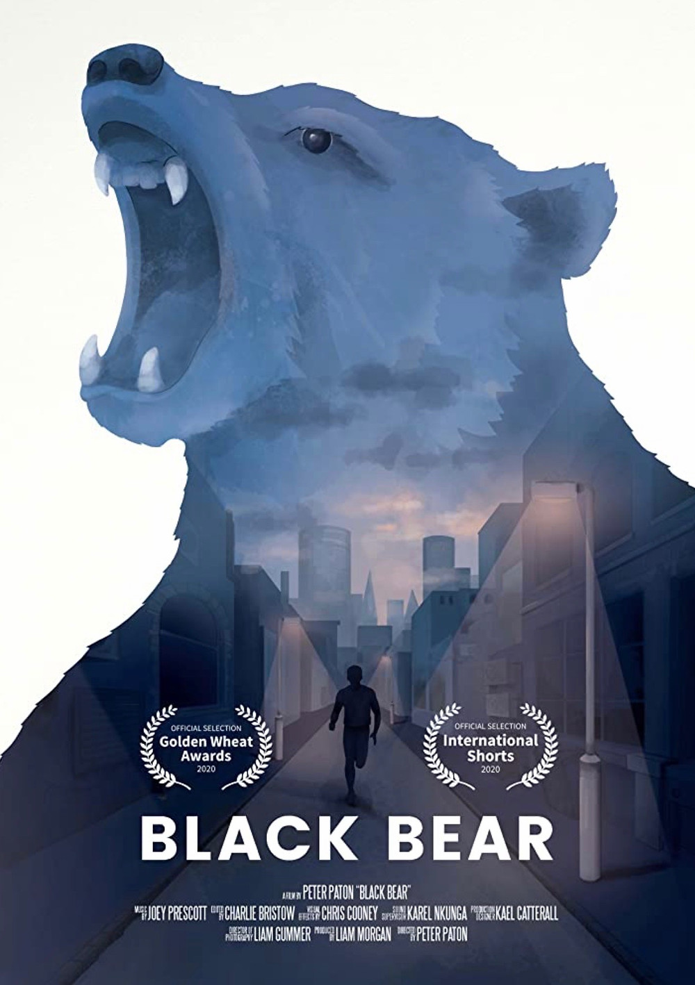 A bear consumes this image as it stands with its mouth wide open in an intimidating stance. Within the bear is another photo containing a silhouette running along the street at dusk; the sky blue with shades of orange and pink infused within it.