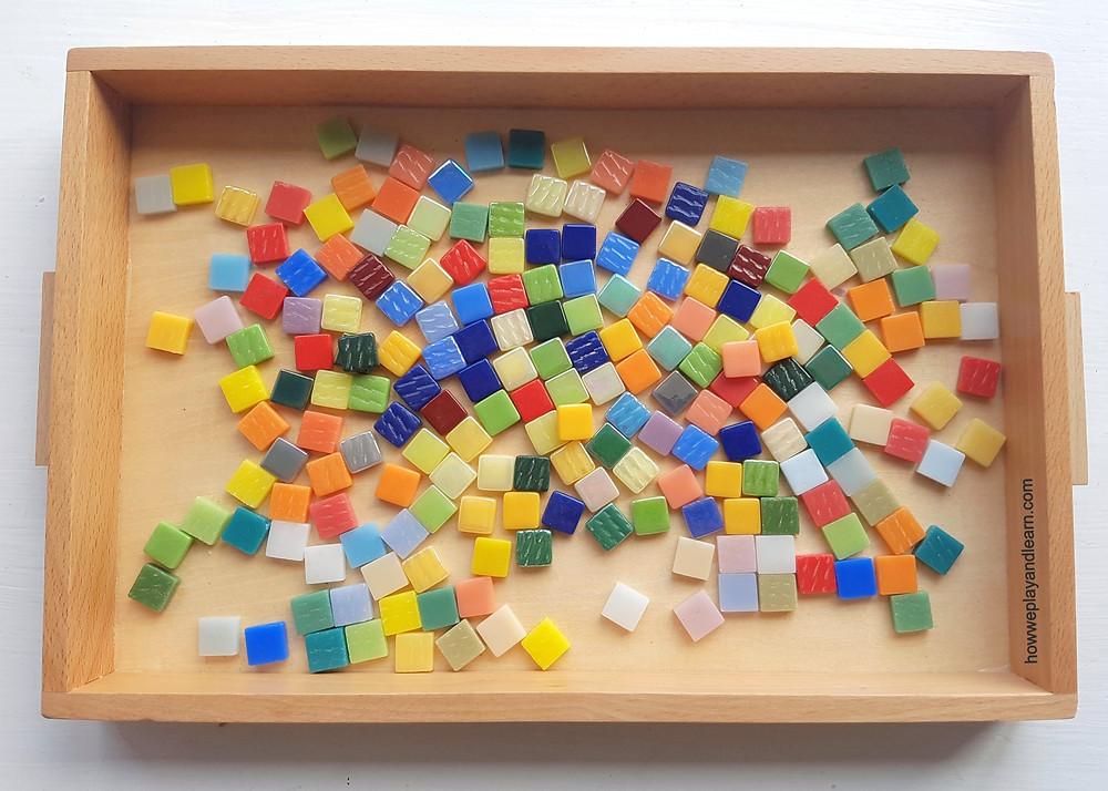 mosaic tiles, loose parts