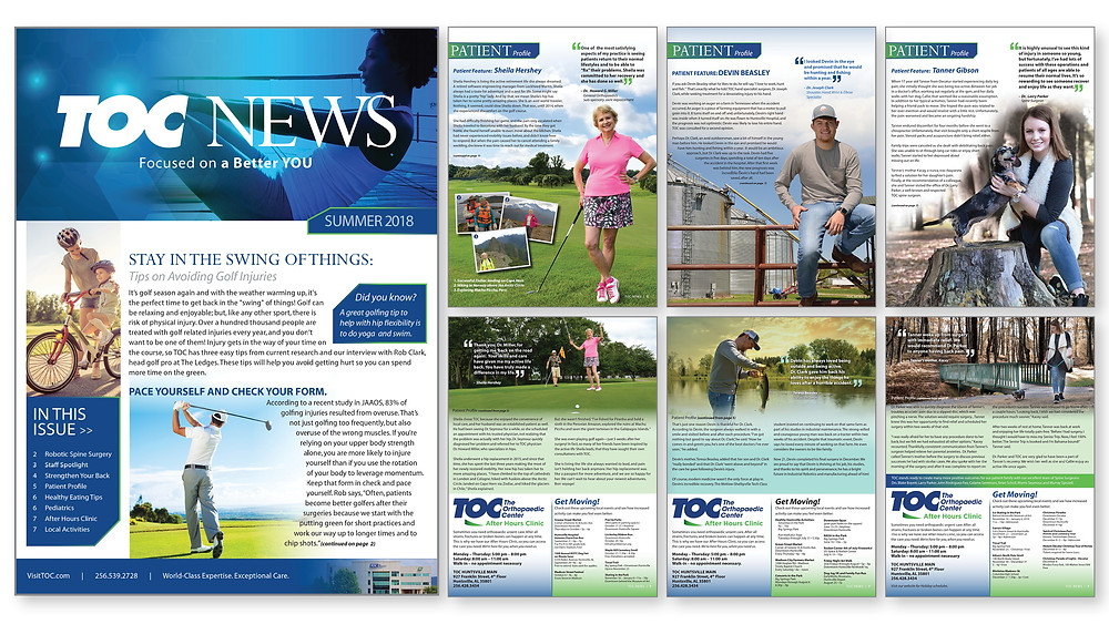 The Orthopaedic Center summer 2018 newsletter won gold in the Healthcare Advertising Awards