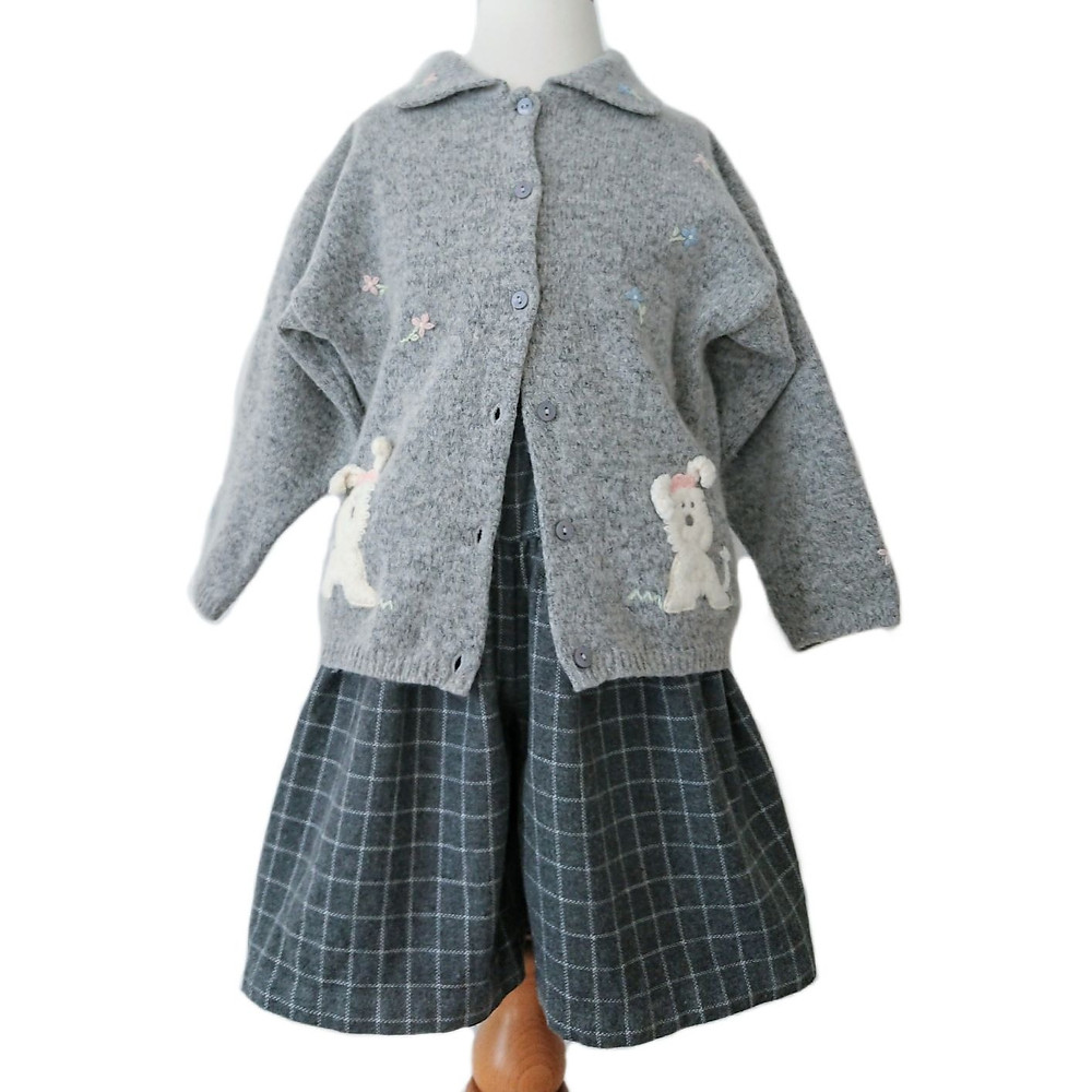 Vintage M&S girls outfit consisting of grey collard cardigan with floral and puppy dog embroidered detail with grey and white plaid culottes