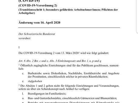 Covid 19- Update Bundesrat 16. April 2020
