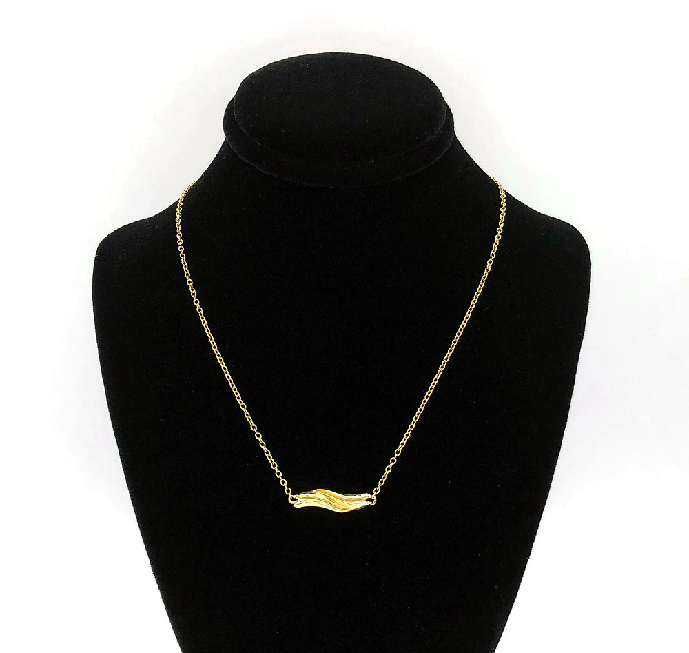 Wave Necklace in 18k Recycled Yellow Gold