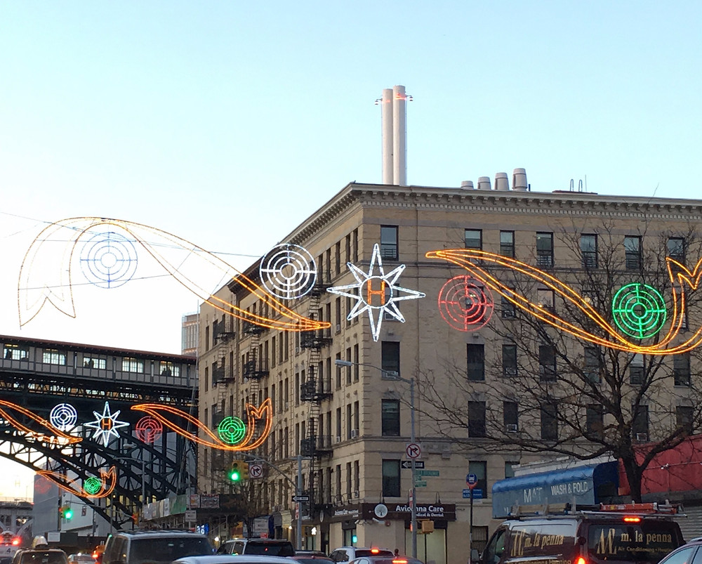 Holiday lights on 125th Street in Harlem