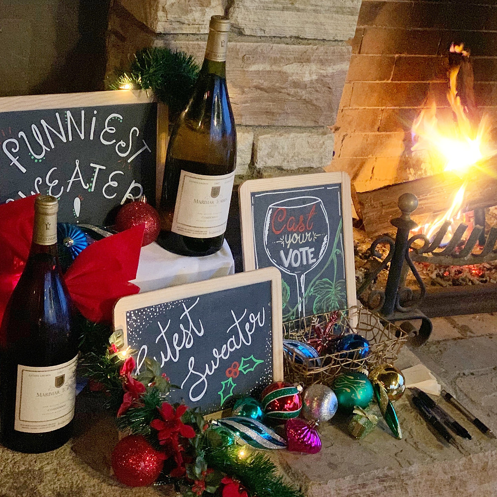 Marimar Estate magnum bottles of wine at the holiday party sweater contest in Sonoma County. Photo by Blonde Tasting