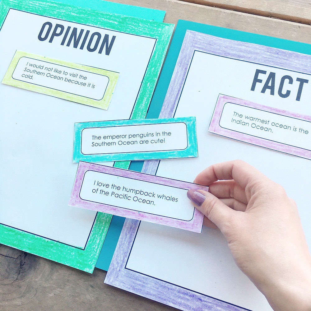 Oceans of the World Fact and Opinion Sorting Center Activity