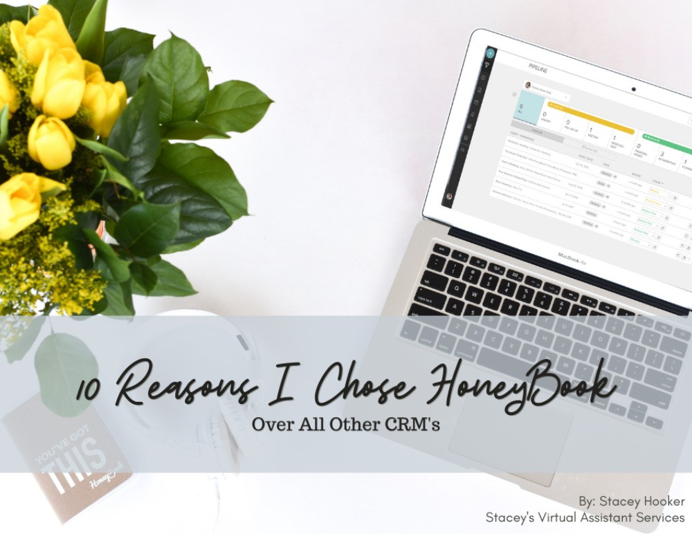 Laptop, yellow roses, notebook, HoneyBook App