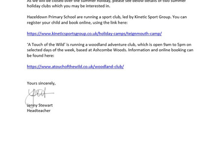 Holiday Clubs Letter