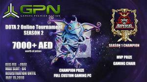7000 AED Cash Prize Money GPNeSports DOTA 2 TOURNAMENT SEASON 2