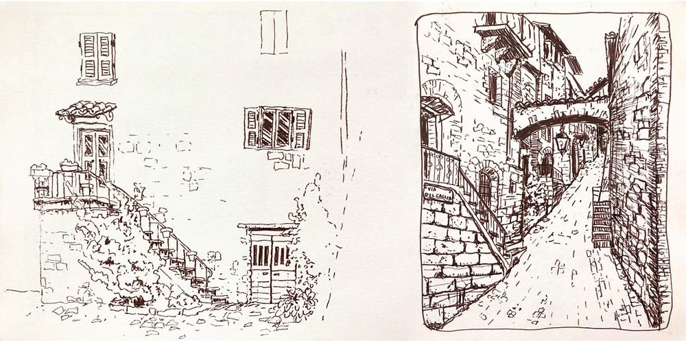 Bagnoregio and Orvieto, Italy - travel sketching, sketchbook line drawings, by Rachel Pearsey