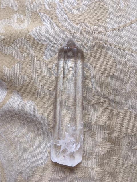 clear quartz crystal point.