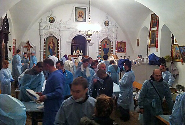 When hospitals closed during the 2013-2014 Euromaidan revolution in Ukraine, Churches such as this one opened as triage and surgical centers.