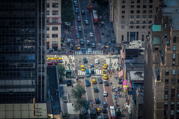 busy intersection in New York City