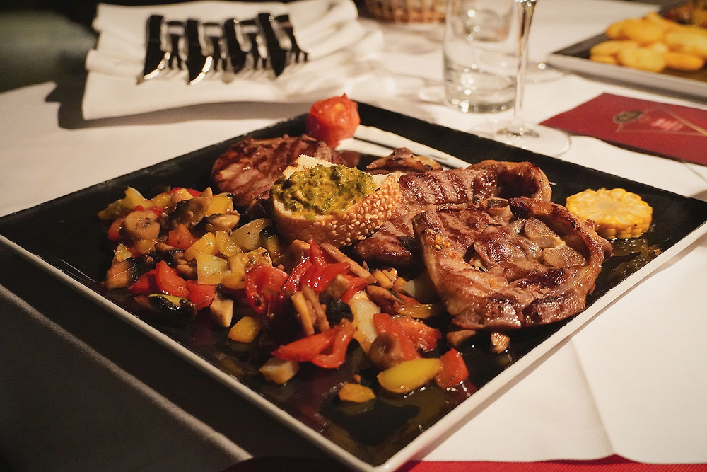 Lamb chops and vegetables in restaurant Ranc in Tucepi near Makarska in Croatia were delicious