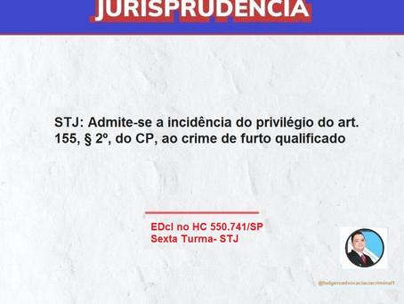 STJ: Admite-se a incidência do privilégio do art. 155, § 2º, do CP, ao crime de furto qualificado.
