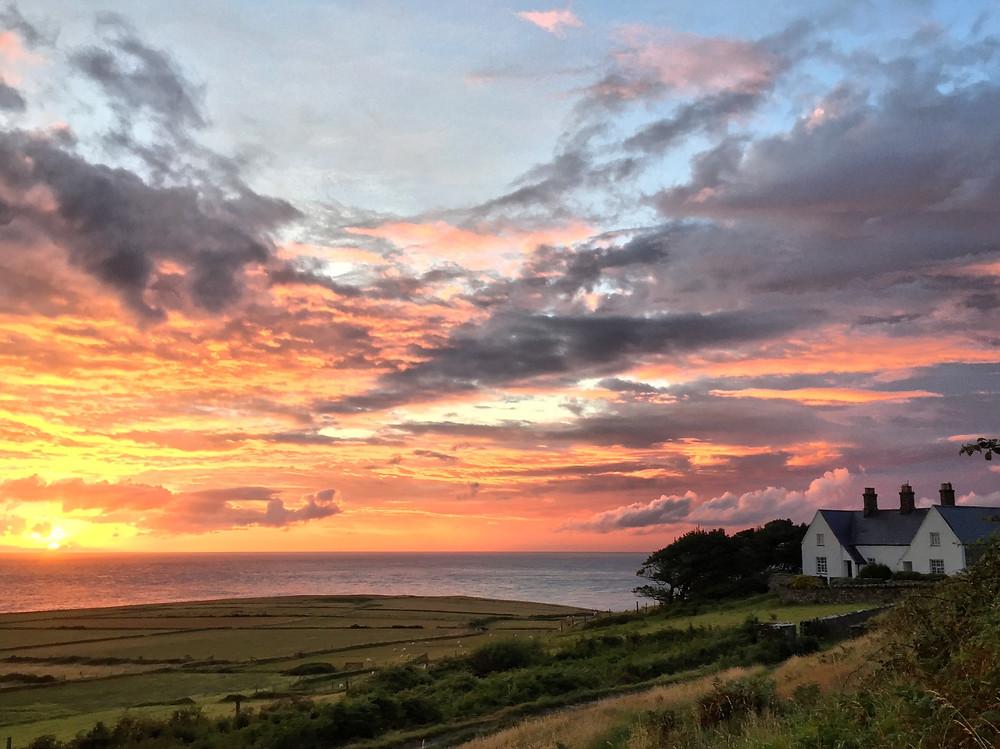 Sunset over the Irish Sea on Bardsey Island