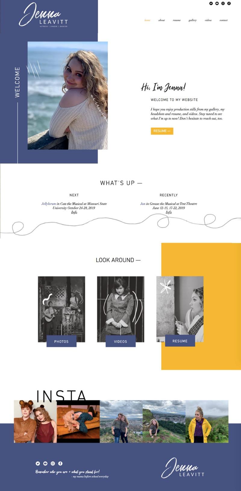 Wix website design for Jenna Leavitt by Bridgette Karl of forty-ninth street, websites for actors