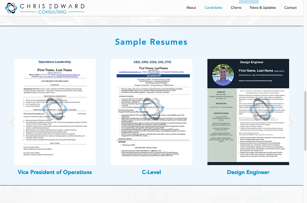 Sample Resumes Now Available
