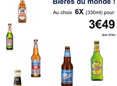 3€49 €🍺BIÈRE DU MONDE/330ml X6 👉au choix