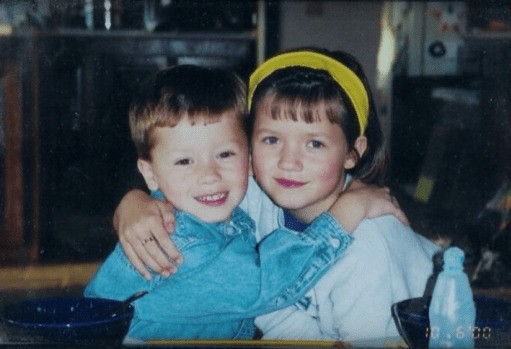 My younger brother and me, 2000.