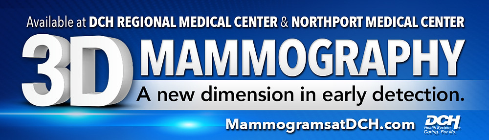 DCH Regional Medical Center 3D Mammography billboard