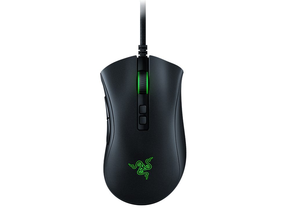 A photo of Razer´s DeathAdder V2 gaming mouse on a white background.