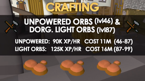 At This Point In Time It Only Costs 47 000 To Get Level 99 Crafting With Earth Battlestaves And That Gives An XP Rate Of 275 Per Hour