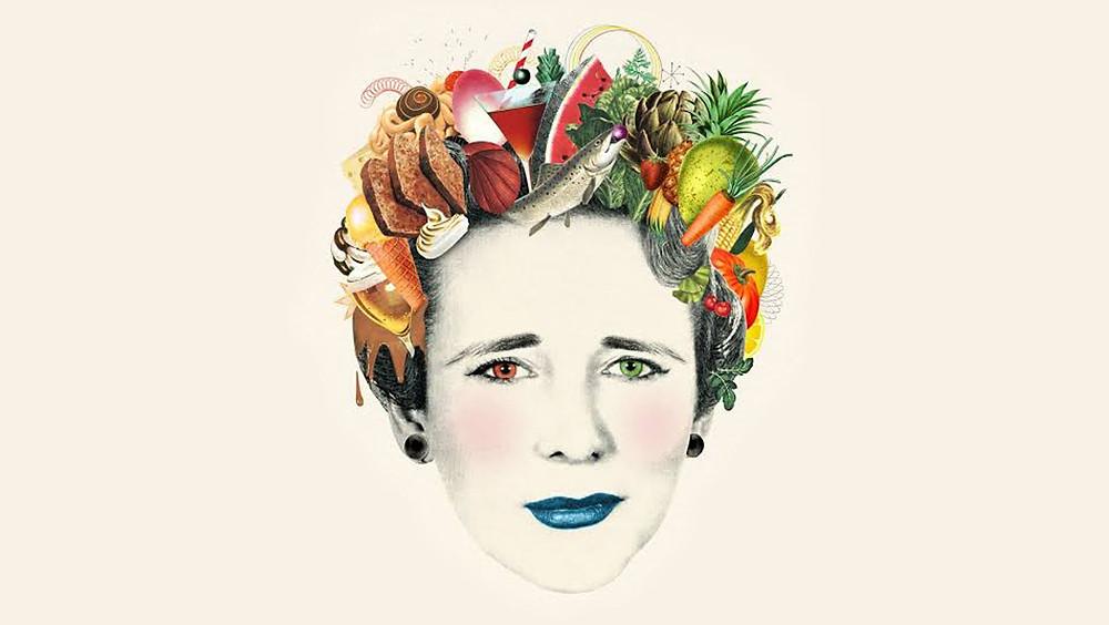 Mujer con comida en la cabeza.
