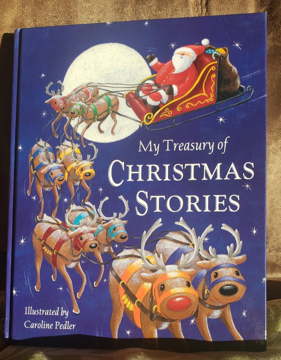 A book of Christmas stories. On the cover Santa is flying through the night sky with eight reindeer.