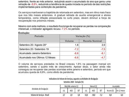 Nota Econômica Semanal: Setor de Serviços tem avanço 1,8% no volume de serviços