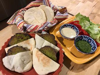 Falafel Burgers on Pita with Schug (Zhug) Sauce prepared by MaryLou