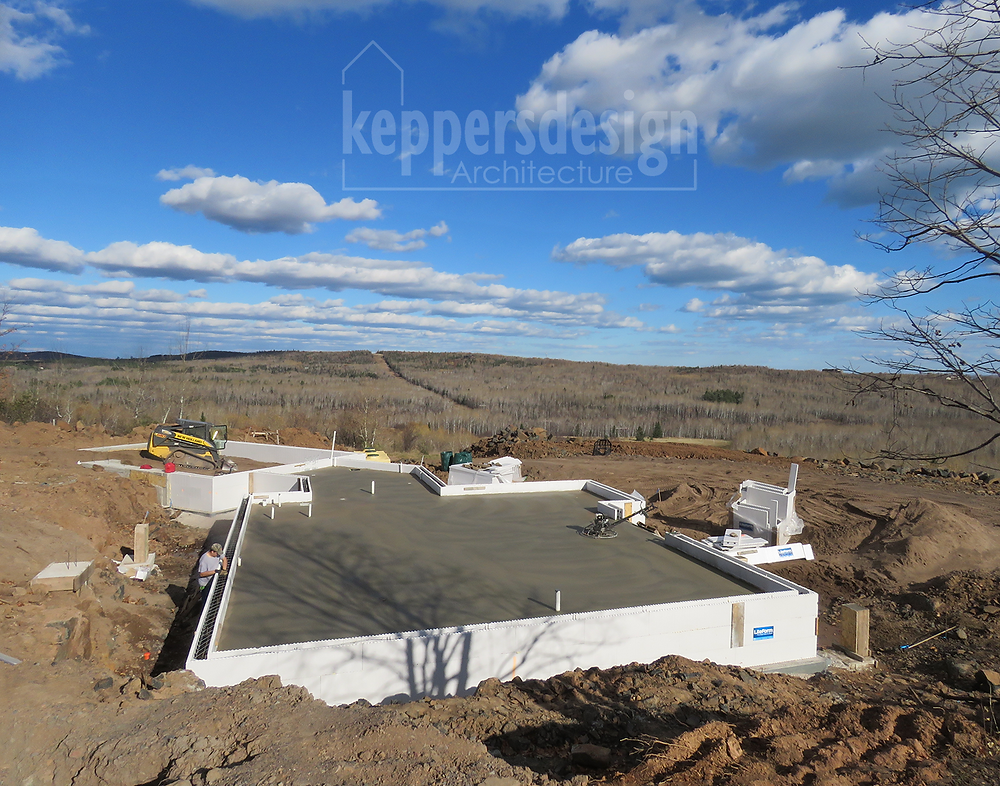 Basement slab with under slab plumbing and ICF frost walls