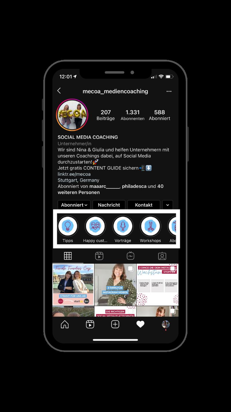 Screenshot von Instagram Profil mit Highlight Icons