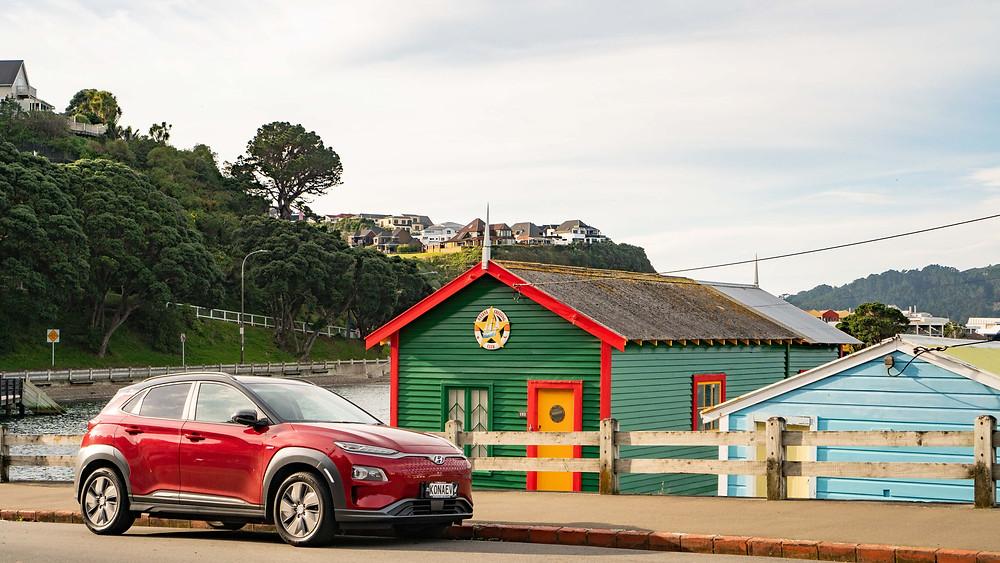 Hyundai Kona Electric 2019 front red Wellington New Zealand Havana
