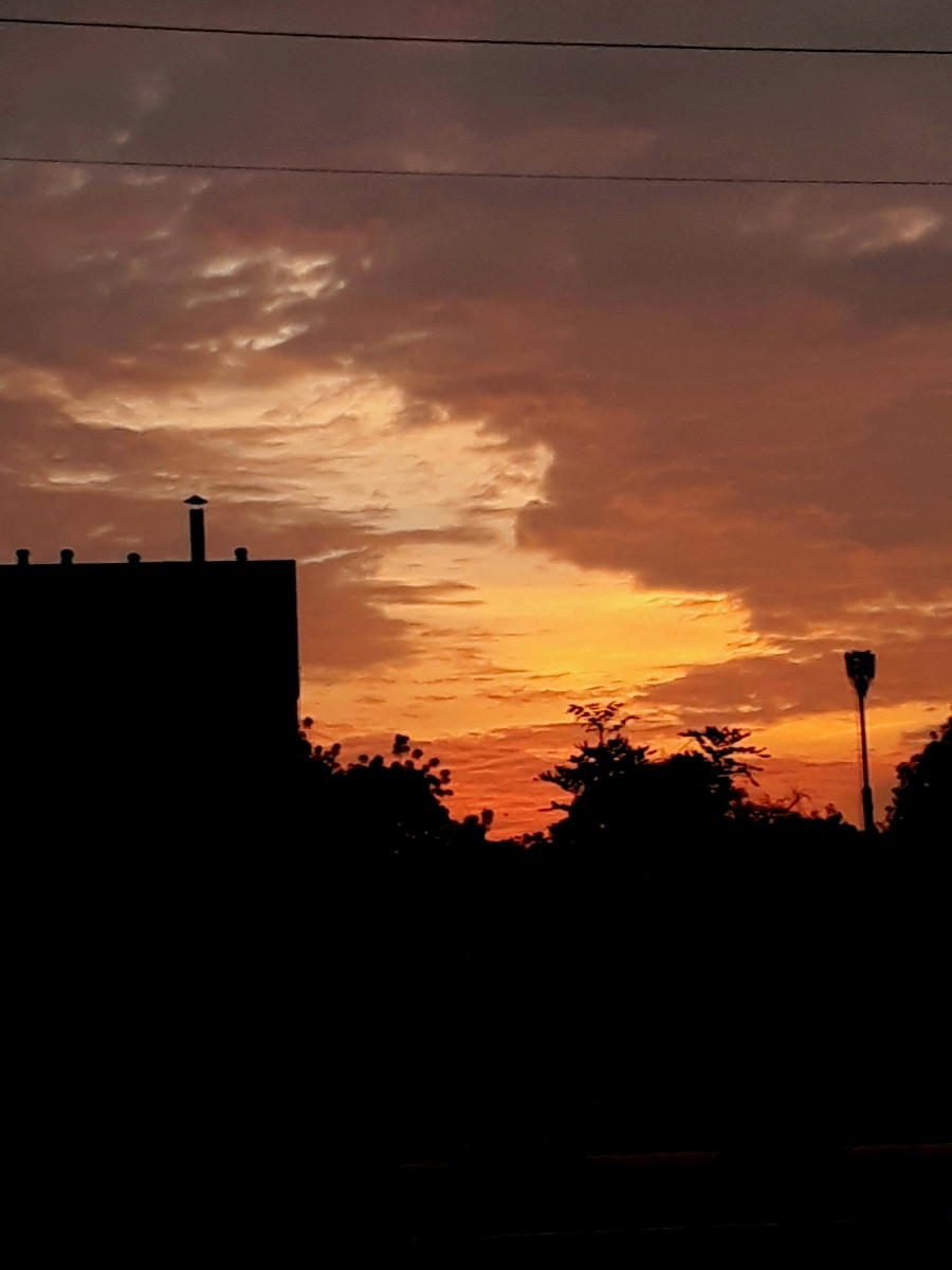 Immediately after sunset in mytown at around 19:15 hours in evening