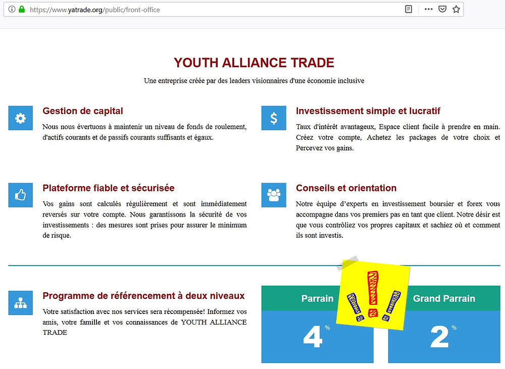 Youth Alliance Trade PONZI