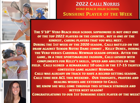 SUNSHINE STATE PLAYER OF THE WEEK  2/25/20