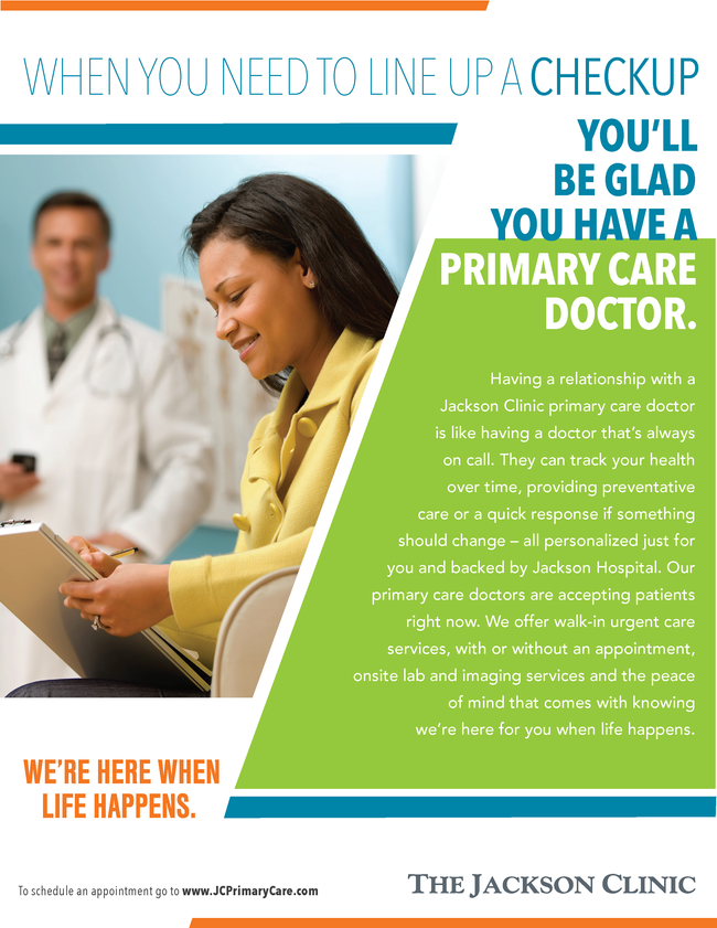 Jackson Clinic primary care ad checkup