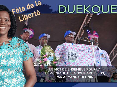 DUEKOUE : LE MOT DE ENSEMBLE POUR LA DÉMOCRATIE ET LA SOLIDARITÉ, EDS, PAR ARMAND OUEGNIN