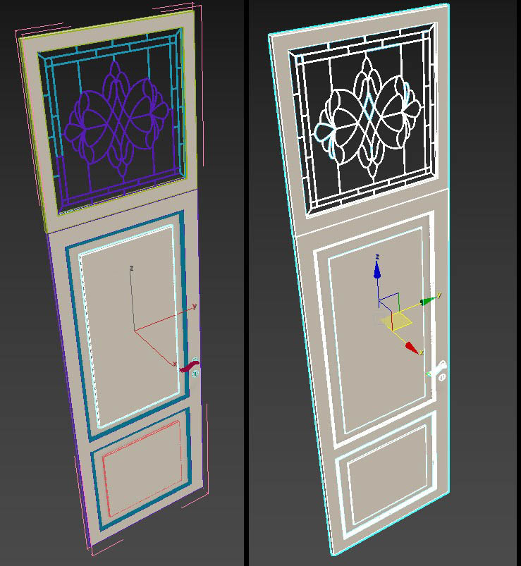 The 3DS Max screenshot of the group (which is the door)